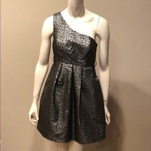 Forever 21 Silver and Black One Shoulder Dress: M